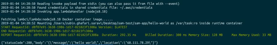 Testing Lambdas locally with aws-sam-cli